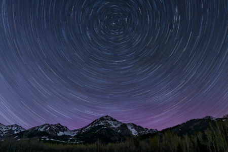 Boulder Mountains Star Trail With Aurora Borealis 5-02-16 - 151742 - Nils Ribi - print -1